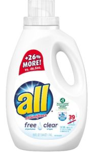 I use the least expensive brand of free and clear liquid detergent which usually ends up being All detergent.