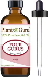 """""""Four Gurus"""" by Plant Guru is my favorite essential oil synergy blend that I really enjoy diffusing in my kitchen. It is true Young Living""""Thieves"""" is stronger, but Plant Guru's """"Four Gurus"""" is way less expensive and works wonderfully filling my kitchen with a wonderful, fresh aroma."""